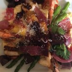 Polenta with grilled shrimp, scallops and beets. Absolutely delicious!