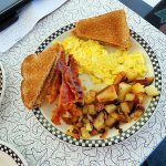 scrambled eggs/bacon/waffle/hash browns