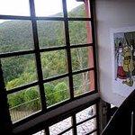 Segunda planta con vistas al salón principal y grandes ventanales al bosque.