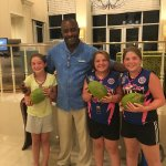 Burton and the Kids with their cocnuts