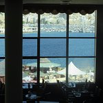 view of the harbour from the dining area