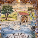 Tiles with the name of the restaurant