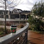 Siuslaw River Bridge looking southwest from the riverfront park/interpretive center.