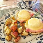 After we were served delicious crepes, the main course arrived: Eggs Benedict.