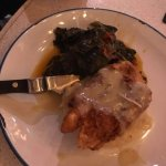 Fried chicken with mashed potatoes and collard greens