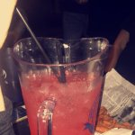 strawberry marg pitcher (and a peek of the waffle fries in the back!)