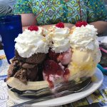 This is the 6 ice cream scoop banana split that my husband and I absolutely destroyed. This is s