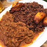 Ropa vieja with moros & cristianos rice, and sweet plantains