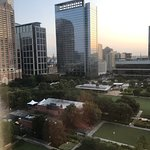 Looking north from 10th floor at Discovery Green Park and right to the George R Brown Convention