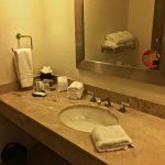Bathroom is nice, with lots of complimentary toiletries.