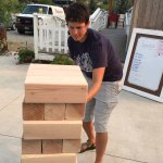 Playing giant Jenga at the Hill Street Depot