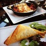 Flaming Hellumi Cheese and spanakopita