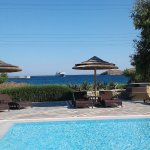 Pool view of the hotel to the Aegean