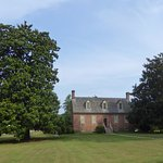 Manor House with Tall Magnolia Tree on Left