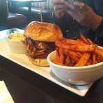 Bacon Cheeseburger with Pulled Pork and Sweet Potato Fries