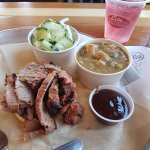 Brisket with Gumbo soup and seasonal cucumber and onion salad