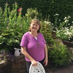Mary, the friendly hostess at the Altamount in her garden.