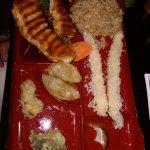 combo plate chicken/shrimp tempura, rice, etc.