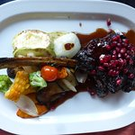 Veal fillet in pomegranate sauce – made with a special recipe, served with vegetables - very spe
