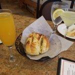 Cheese bread, peach belini & limoncello martini