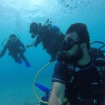 Lucas from Cayman Turtle Divers giving into to diving experience