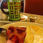 Eggs and ham steak, tea