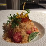 Watermelon, ground salmon crispy shallots galangal powder- all comes together very well!