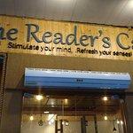 The wooden carved board: The Reader's Cafe