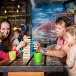 Old fashioned family fun with games like Jenga and Connect 4 on every table