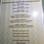 set menu for the italian restraurant
