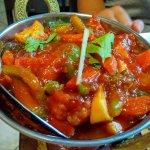 Seasonal vegetables in slightly spicy sauce