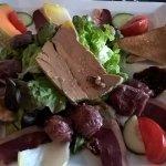Salade de gésiers et foie gras
