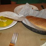 fresh bread, olive oil and garlic