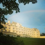 A beautiful morning rainbow over the hotel