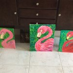 Our three flamingos, left is pretty in pink, middle is named fluffy and the right is molting.