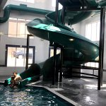 The huge water-slide. The cheers and laughter from the pool makes even the grumpiest traveler sm
