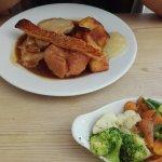 Roast pork & tiny bowl of veg.
