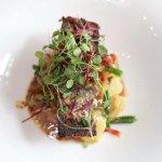 Salmon, haricot vert, red bliss potatoes, whole grain mustard vinigrette