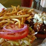 Blue burger platter, yummy!