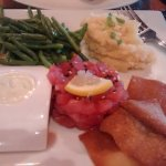 "Tuna tartar app ""upscaled"" to an entree by adding haricots verts &horseradish mashed potatoes"