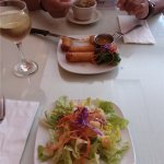 Salad (comes with lunch), spring rolls and soup.
