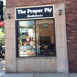 "The Proper Pig on Detroit Avenue. Look for the neon ""BBQ""."