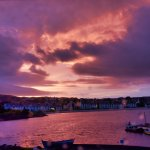 Sunrise, four o'clock in the morning, view from room over Port Ellen.