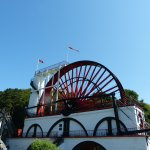 Laxey Wheel - viewing platform on top. Note circular stairs. 24 July 2017.
