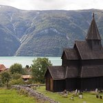 Stave church across from hotel