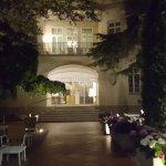 Hotel entrance and garden