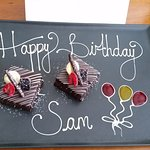 Sam's Birthday Greeting in our Room. Very Nice!!