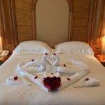 Wedding anniversary set up with towel arts