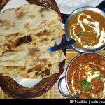 Dinner that comprises of Panner Tikka Masala, Dal Makhani and Plain Tandoori Rotis (Bread)