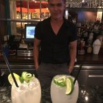 Our bartender Sai with his Ginger margarita!!
